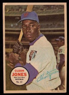 1967 Topps Baseball Insert Posters 13 Cleon Jones New York Mets