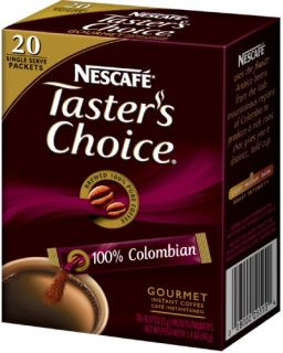 Tasters Choice Colombian Instant Coffee 20 Count Sticks (Pack of 8