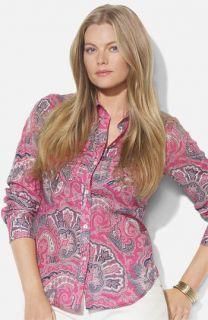 Lauren Ralph Lauren Roll Sleeve Print Shirt (Plus)