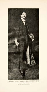 1921 Print Portrait Robert Comte Montesquiou Fezenzac Aesthete Dandy
