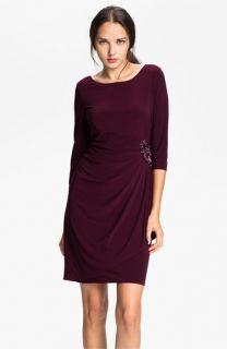 Alex Evenings Scoop Back Draped Jersey Dress (Petite)