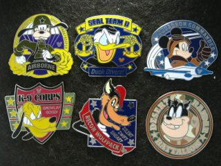 Disney Hidden Mickey Armed Forces Collection 6 Pin Set