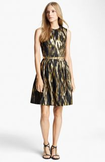 Michael Kors Belted Metallic Print Dress