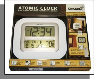 NEW SkyScan Atomic Clock w Indoor Outdoor Temperature Wireless Sensor