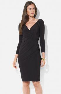 Lauren Ralph Lauren Ruched Surplice Jersey Sheath Dress