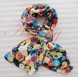 Women Lady Girls Large Long Chiffon Smile Faces Soft Scarf Shawl