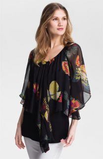 Alberto Makali Butterfly Print Silk Blouse