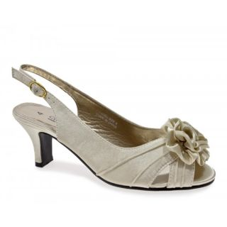 Comfort Plus Wide Fitting Slingback Satin Shoes Ivory Wedding Party