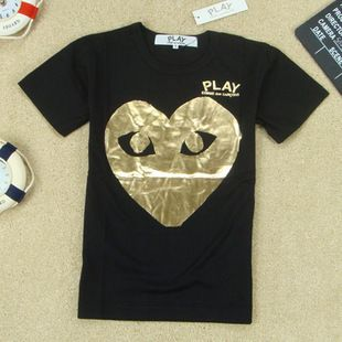 COMME Des GARCONS CDG PLAY MENS T SHIRT BLACK GOLD HEART SZ M 2