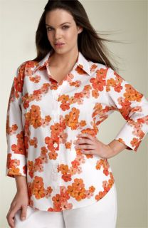 Foxcroft Floral Print Shaped Shirt (Plus)