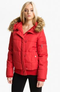 DKNY Faux Fur Trim Split Hood Quilted Bomber (Online Exclusive)