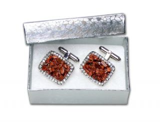 Silver Tone Cufflinks Red Color Stones Mens Cuff Links