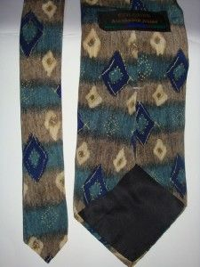 alexander julian COLOURS TAN BLUE GREEN DIAMOND ALL SILK NECK TIE