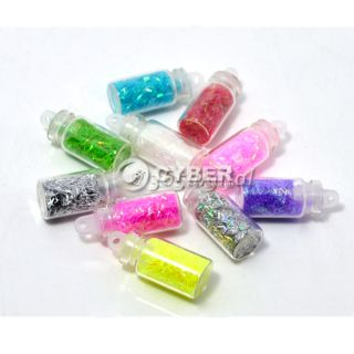 10 Bottles Nail Art Iridescent Confetti Glitter Mini Beads Spangle Set