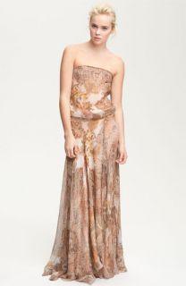 Haute Hippie Strapless Paisley Print Chiffon Maxi Dress