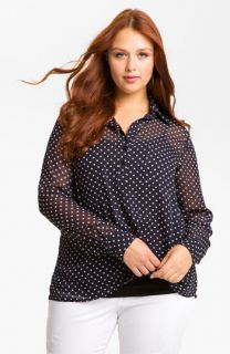 Gibson Polka Dot Chiffon Blouse (Plus)