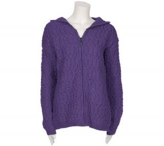 Aran Craft Merino Wool Aran Stitch Zip Front Hooded Sweater —