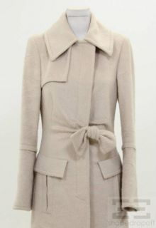 Gucci Beige Alpaca Wool Belted Full Length Coat Size 40