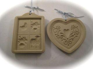 Set of Two Stoneware Cookie Molds Heart, Barnyard Farm Animals Design