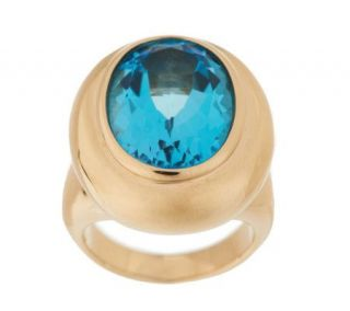 Oval 12.00cts. Swiss Blue Topaz Ring, 14K Gold —