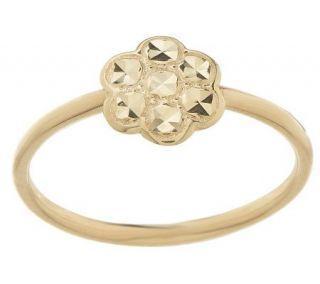 Stackable Diamond Cut Flower Ring 14K Gold —