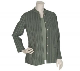 Denim & Co. Woven Chenille Striped Jacket with 3/4 Sleeve Stretch T