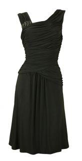 Black Beaded Stretch Goddess Cocktail Dress Cindy Size 12 New