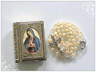 Colored Faux Pearl Glass Beads Rosary Communion Chalice Center