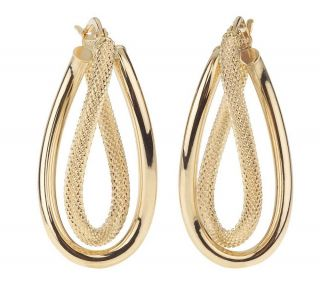 VicenzaGold Polished & Textured Double Swirl Hoop Earrings, 14K