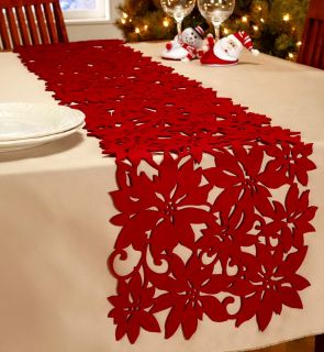 New Large 12 x 68 Long Red Christmas Poinsettia Table Runner