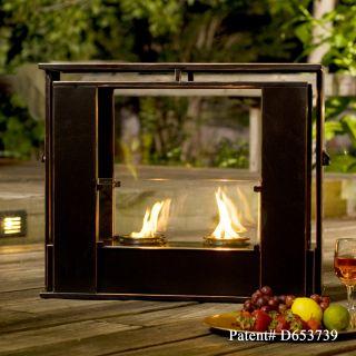Indoor Outdoor GEL FUEL FIREPLACE Metal w/Copper Accent & Glass Patio