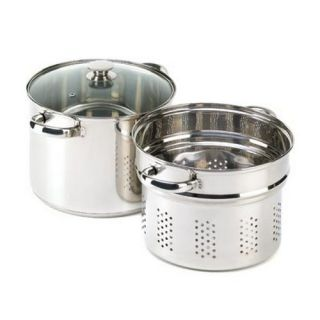 Pasta Cooker Set Stainless Steel Cooking Stock Pot Kit New