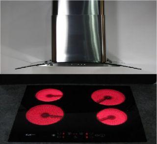 60cm Wide Electric Ceramic Cooker Hob Hood Splashback