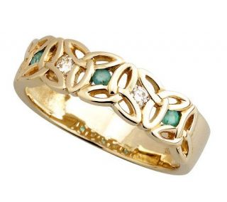 Solvar Ladies Diamond & Emerald Trinity Knot Ring, 14K Gold   J311322