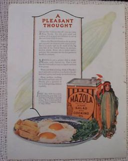 Mazola Cooking Oil Indian Corn Girl Antique Old Ad 1925
