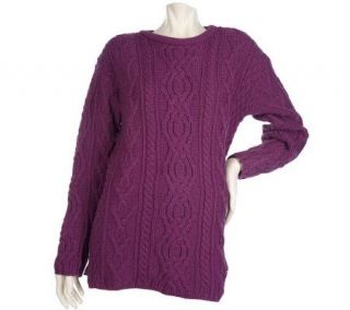 Aran Craft Merino Wool Crewneck Tunic Sweater —