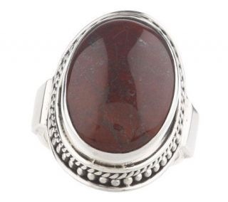 Artisan Crafted Sterling Bold Oval Red Jasper Ring —