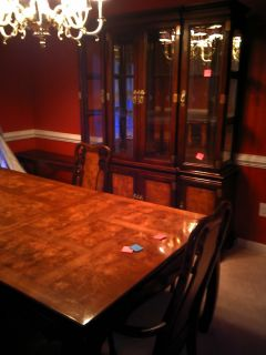 Asian Style Solid Wood Dining Table 4 Chairs Cabinet
