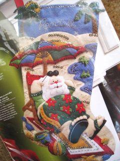 Holiday Bucilla Felt Stocking Kit,COOLIN IT SANTA,Beach,Size 18,NIP