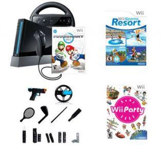 Wii Sports Resort Party Bundle w/Black System,Mario Kart Game