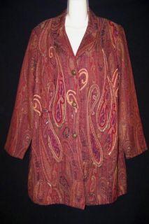 Coldwater Creek Long Tapistry Burgundy Red Plus Dress Formal Plus