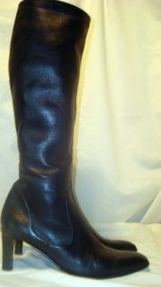 Vintage Cole Haan Tall Knee Riding Boots Italy High Heel Black Leather