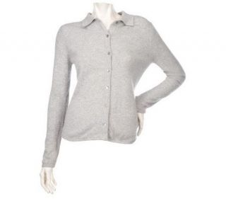 Precious Fibers 2 ply Cashmere Button Front Cardigan —