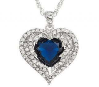 Priscilla Presley Angel Wings Crystal Heart Pendant & Chain —
