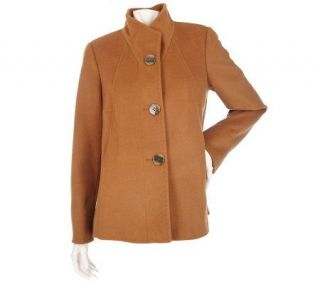 Ellen by Ellen Tracy Wool Button Front Paneled Swing Coat   A93336