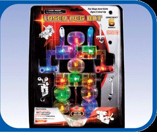 LED Lighted Construction Set Robot Bot Laser Pegs Fun Educational Toy