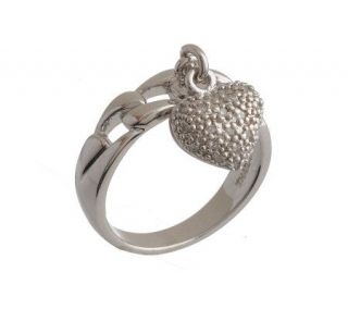 AffinityDiamond Sterling 1/10 ct tw Pave Heart Charm Ring —