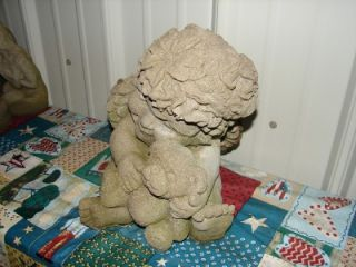 vintage concrete angel w bear yard garden ornament mold