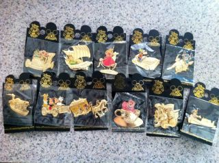 Disney 50th Golden Vehicle Collection 11 Pin Set Lot Disneyland NEW