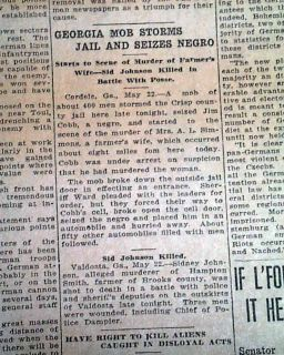 Cordele GA Georgia Negro Lynching James Cobb Newspaper